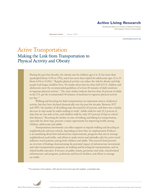 Active Transportation: Making the link from transportation to physical activity and obesity