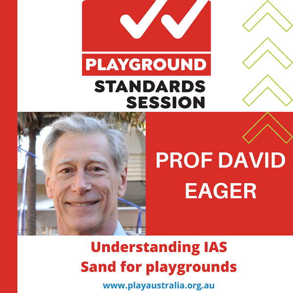 Playground standards session with Professor David Eager presenting Understanding IA S Sand for playgrounds