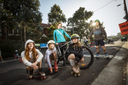 Brunswick East Primary School mother Trish Lloyd with her children Joni (second from left) and Max (far right) and friends Olive and Marlowe. CREDIT:CHRIS HOPKINS